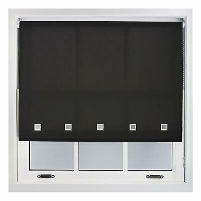 Black Square Chrome Eyelet Roller Window Blinds Drop 160cm Trimmable Home Office