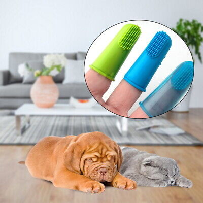 Soft Finger Toothbrush Pet Dog Dental Cleaning Brush Pets Cat Non-toxic UK