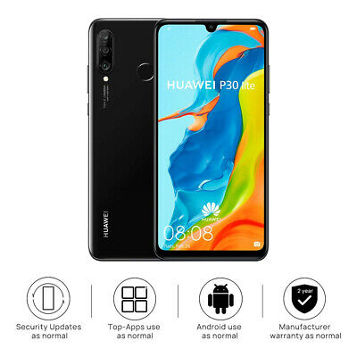 "New Huawei P30 Lite Midnight Black 128GB 6.15"" 4GB LTE Android 9.0 Sim Free UK"