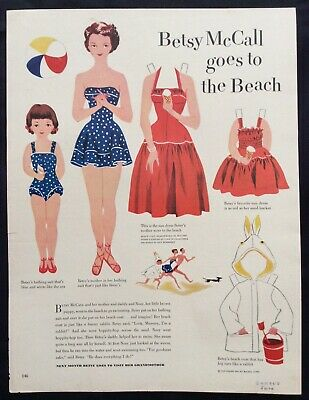 Vintage Betsy McCall Mag. Paper Doll, Betsy Goes to the Beach, June 1951