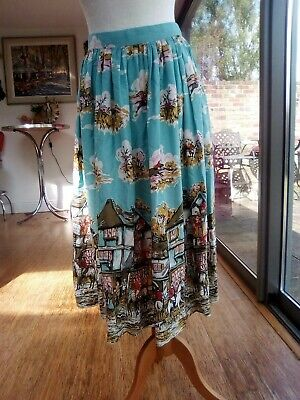 "40s 50s Hunting novelty Print Fabric Skirt 26"" W"