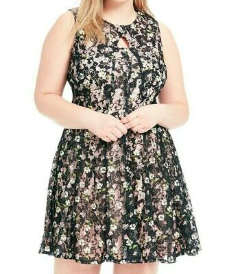 Gabby Skye Keyhole Sleeveless Floral Print Fit And Flare Dress Size 20W
