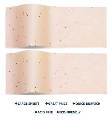 ROSE GOLD ON BLUSH Gemstone Tissue paper SPARKLY Large wrapping paper 50 x 75 cm