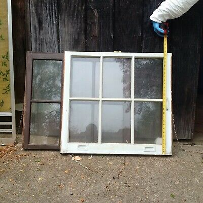Two Antique Vintage Double Hung Wood Sash Window Glass Lite Pane