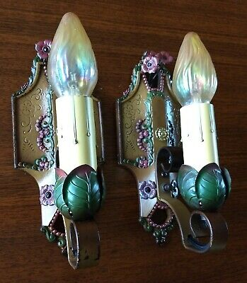 Pair Vintage Lincoln #904 1-Light Sconces - Shabby Chic - Ready to Use!