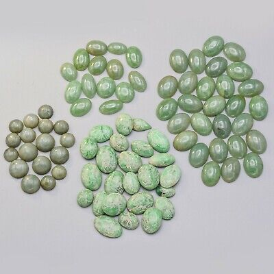 Vintage Green Jade Oval & Round Cabochon Mixed Lot of 83 Loose Stones 68.1 Grams