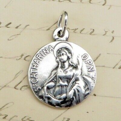 Saint Catherine Of Bologna Medal For Men .925 Sterling Silver Necklace On 2...