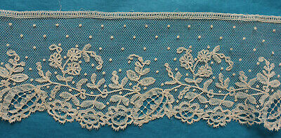 119 cms antique Brussels dotted applique lace border