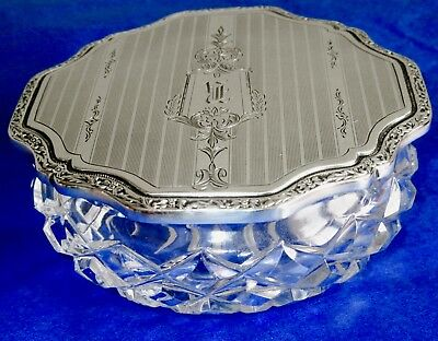 Birks Heavy Sterling Silver Lid Hand Cut Crystal Powder Jar