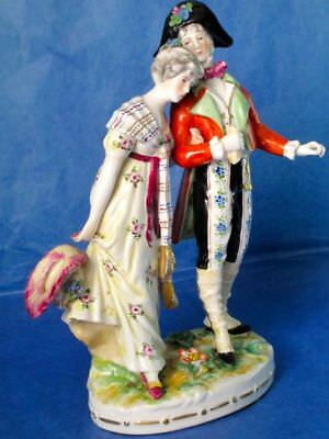 Royal Vienna Courting Pair Antique Porcelain Hand Painted Figurine 1840-1880