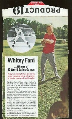 1969 Kellogg's Cereal Product 19 Whitey Ford New York Yankees Box Back
