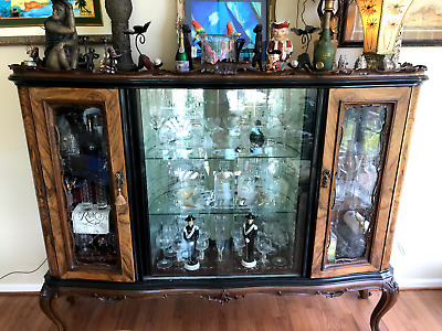Gorgeous Large Italian Carved Burl Wood Antique China / Buffet /  Bar /  Display