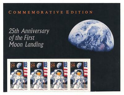 APOLLO 11 - FIRST MOON LANDING - 25th ANNIVERSARY - 4 MINT U.S. STAMPS + HEADER