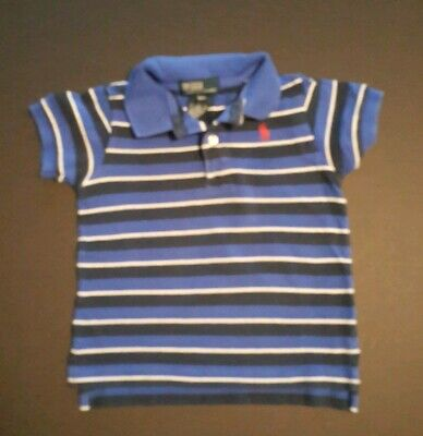 RALPH LAUREN Boys 18 mo Polo Shirt Short Sleeved Blue with White & Navy Stripe