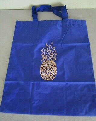 """AQUAZZURA FIRENZE Blue Pineapple and Spell Out Logo Shoe Dust Bag Tote 15"""" X 18"""""""