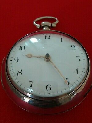 1820 Large Eng. Verge Fusee Sterling Silver SANDWICH Watch Gold Hands NO RESERVE