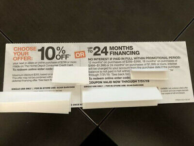 Home Depot 10% off Home Depot coupon -OR- no interest *VALID through 7/24/19
