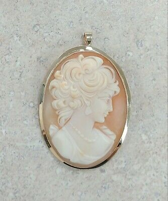 VINTAGE Solid 14k Yellow Gold / Cameo Ladies Brooch Pin Pendant