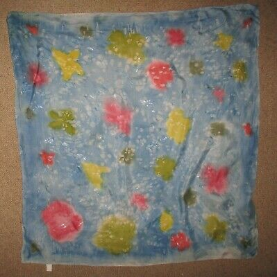 Vintage Hand Painted  Silk  Large Scarf  Good Condition