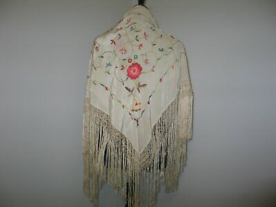 Piano Shawl Antique Vintage Flapper Canton Embroidered Mantilla Off White