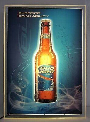 Bud Light Superior Drinkability 3D Lighted Plexi Beer Pub Bar Sign 20x28