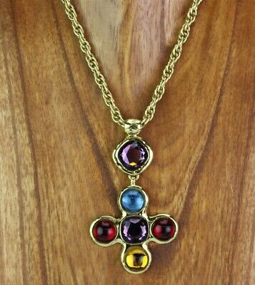 2fec2f6450e VTG Signed Yves Saint Laurent YSL Swarovski Crystal Cross Runway Necklace  NR KPB
