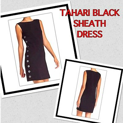 Tahari Black Sleeveless Sheath Dress Side Button Accents Size 8 New With Tags