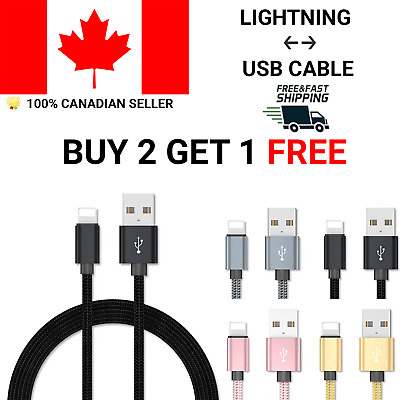 Lightning USB Braided  Cable 8 Pin Charge Sync for Apple iPhone 11 X 7 Plus 6 S