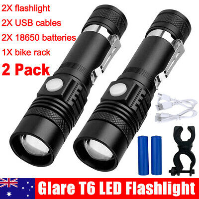2 Packs 60000lm CREE XM-L T6 LED Flashlight Torch USB Bike Rechargeable Head AU