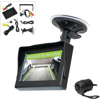 "Pyle PLCM44 Back-Up Rearview License Plate Camera System Kit 4.3"" Color Monitor"