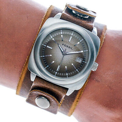 Fossil Mens Watch JR8557 Gradient Brown Date Dial Leather Cuff Band 50m Working