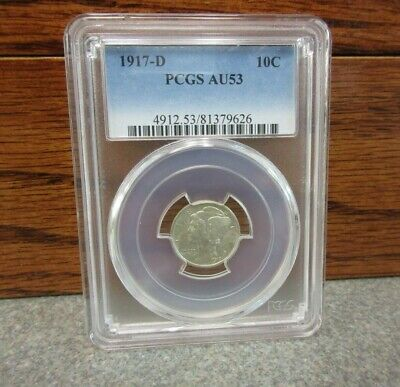 1917-D Winged Liberty Head or Mercury Dime PCGS : AU53 : BUY-IT-NOW