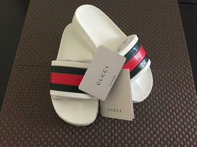75c9b4c0b Men's New Gucci Logo Slides Rubber - Flip Flops / Sandals / White - Euro -