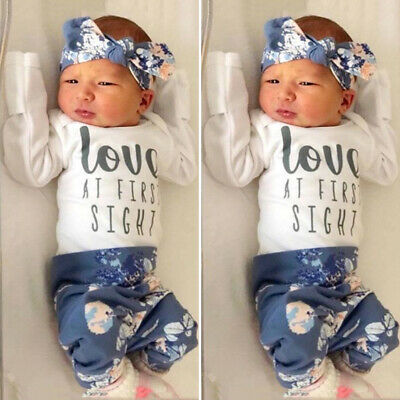 UK Newborn Baby Girl Long Sleeve Romper+Floral Pants+Headband Outfits Clothes