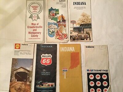 7 Vintage Indiana Maps - Mobil, Standard Oil, Shell, Phillips 66, Texaco