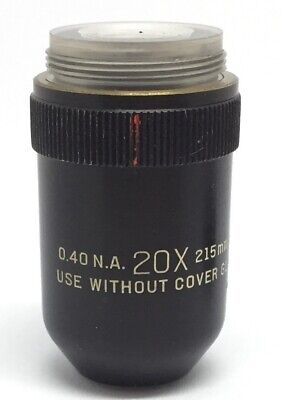 Bausch & Lomb (B&L) 20x / 0.40 NA 215mm TL Microscope Objective No Cover Glass