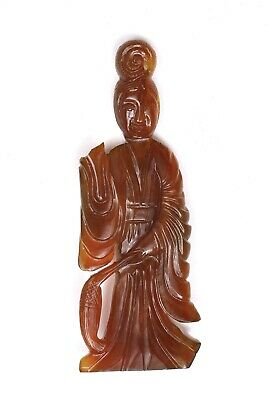 1930's Chinese Agate Carnelian Carved Carving Lady Figure Figurine