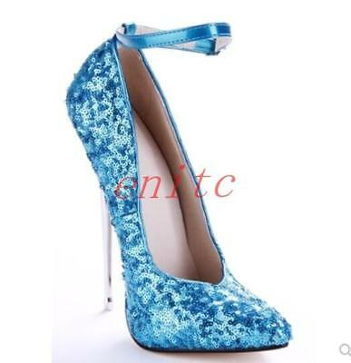 T show Ladies 16cm Sequins Shiny Stilettos Buckle Sexy club Pumps Bridal Shoes