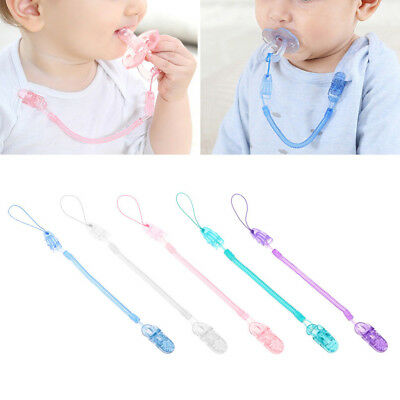 Baby Toddler Dummy Pacifier Soother Spring Nipple Clips Chains Strap Holder