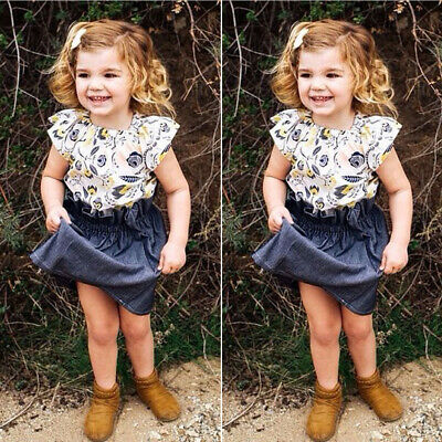 Toddler Kids Baby Girl Clothes Fly-Sleeve Tops+Denim Skirt 2PCS Outfit Sunsuit