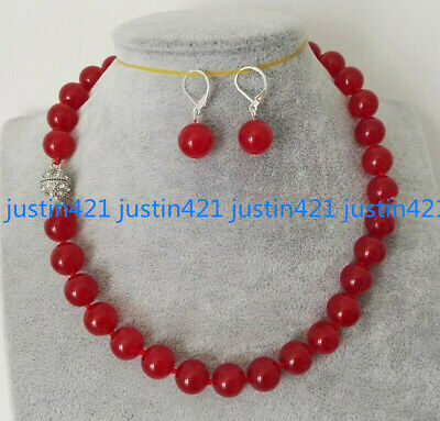 """Natural 6/8/10mm Red Ruby Round Gemstone Beads Necklace Earrings Set 18"""" AAA"""