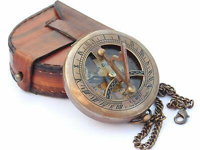Antique Brass Sundial Compass~Vintage Push Button Pocket Compass w Leather Case