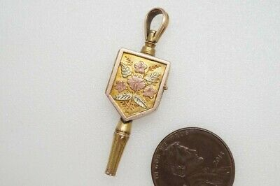 Fine Quality Antique English 15K 3 Colour Gold Locket Watch Key Fob / Charm
