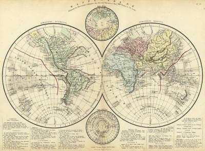 World Map Card Geography Antique Engraving Original 19th Century