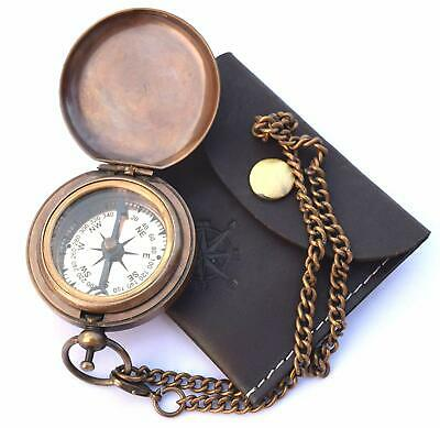 "Hampton Nautical Solid Brass Captain's Push Button Compass, 3"", W/ Leather case"