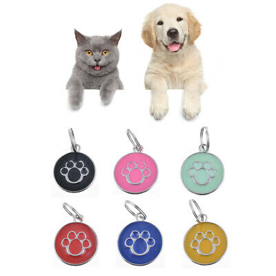 Metal Dog Cat Pet Tag ID Collar Tags Personalised Engraved Paw Print New UK