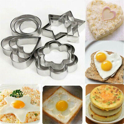 12PCS Stainless Steel Cookie Plunger Biscuit Cutter Baking Mould
