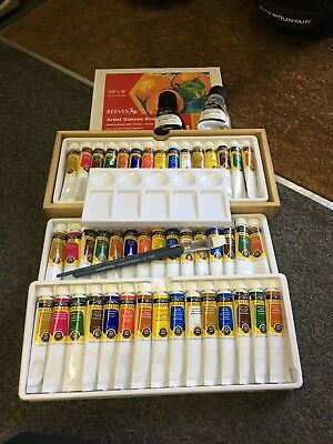 Windsor And Newton Paint/brushes/canvas/paint Tray And Other Read Description