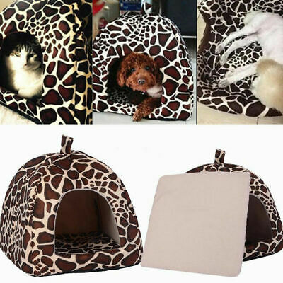 Small Pet Nest Dog Cat Fleece Soft-Warm Bed House Cotton Mat Lepard Gift Super