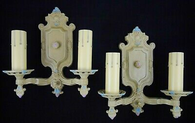 Antique Vintage Pair Halcolite Sconces Restored Polychrome & Rewired 1920's